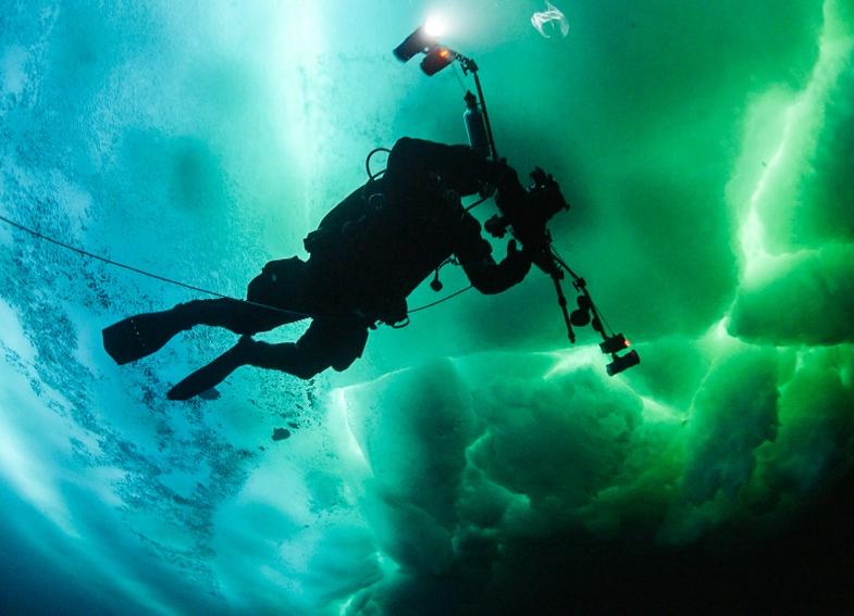TVTipp: Wasserwelten. Robert Hansen beim Eistauchen in Ostgrönland